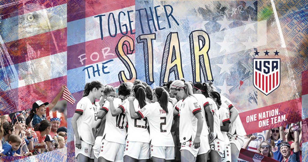 USNWT together to win a star in the 2019 world cup