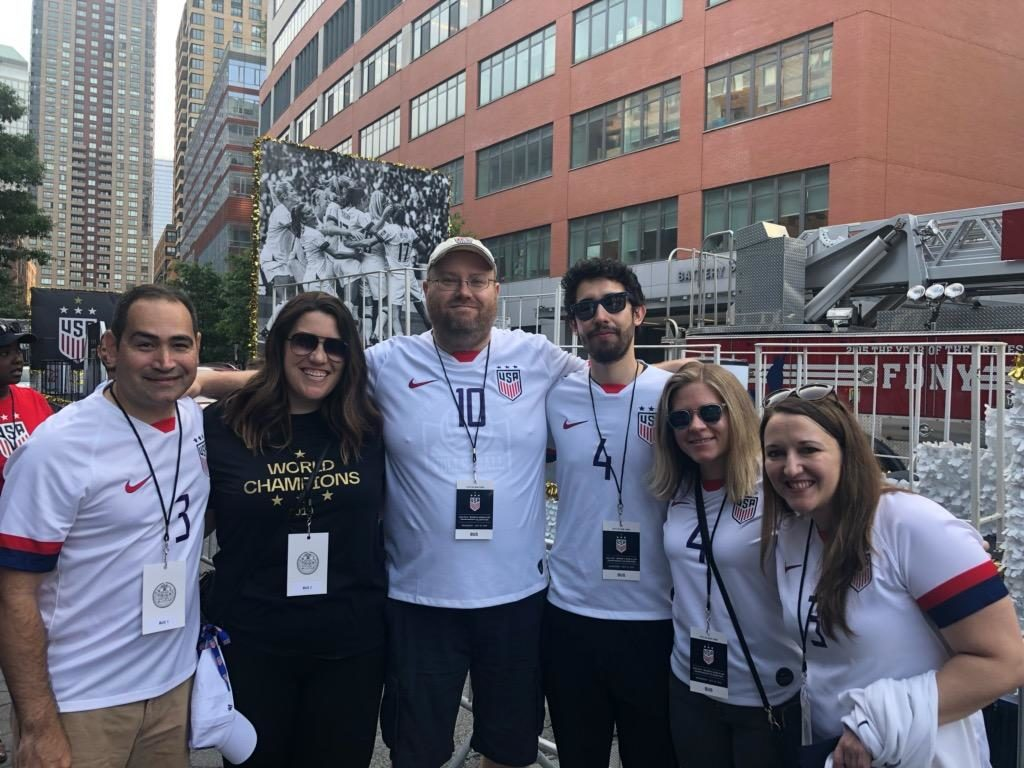 Stone Ward Chicago team in NYC with the USWNT during their congratulatory parade