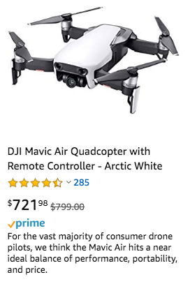 Drone listing on amazon