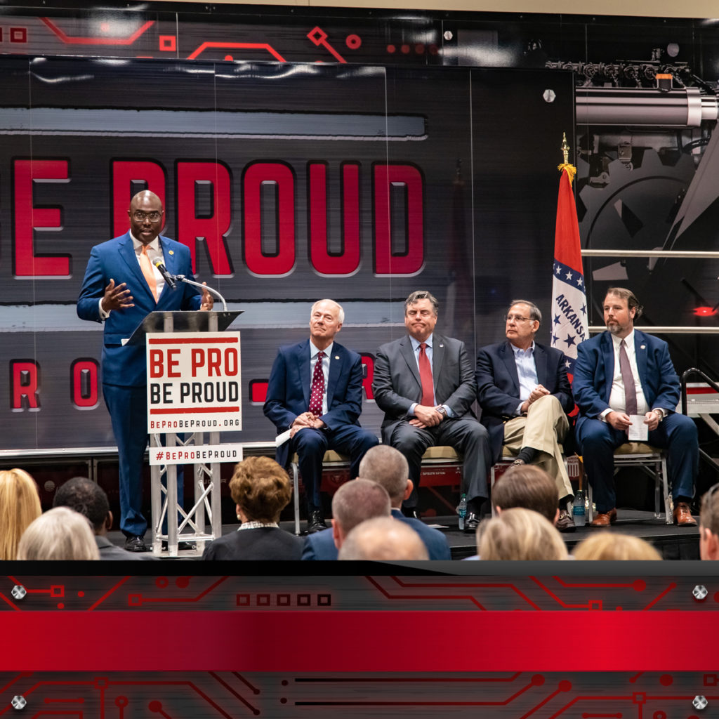 man speaking at Be Pro Be Proud launch in Little Rock, Arkansas