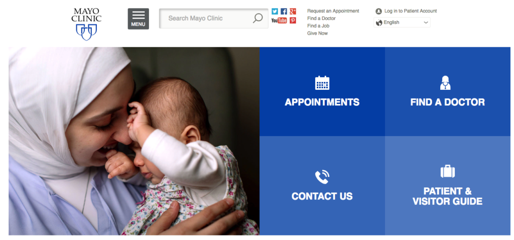 Mayo Clinic Homepage Navigation Example
