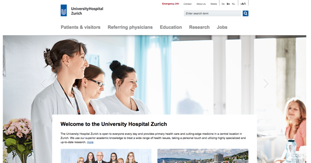 University Hospital of Zurich Website Homepage