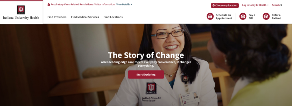 Indiana University Health Website Homepage Example