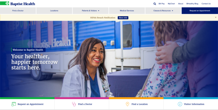 Baptist Health Care website design