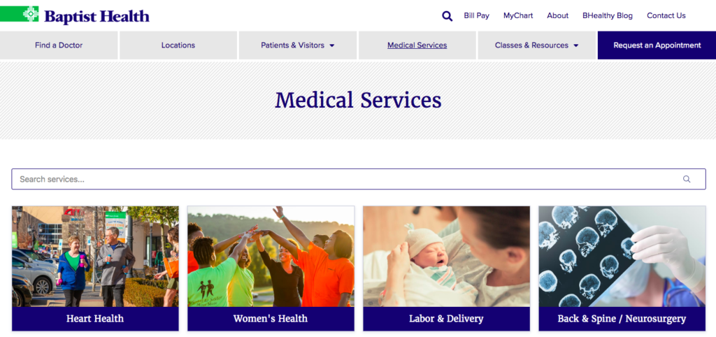 Baptist Health Medical Services Menu